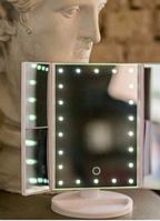 Косметичне дзеркало Magnifying Mirror з 22 LED підсвічуванням - прямокутне потрійне (W-6)