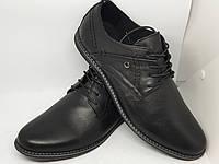 Мужские черные кожаные туфли на шнурках
