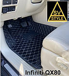 Килимки на Mercedes GLC X253 Шкіряні 3D (2015+) з текстильними накидками, фото 5