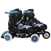 Роликовые коньки SportVida 4 в 1 SV-LG0020 Size 35-38 Black/Blue, фото 2