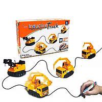 Індукційний трактор з краном Inductive Truck 777-002 їде по лінії, пластик, від батарейок LR44, дитячі іграшки, дитячі машинки