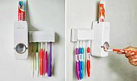 Тримач з дозатором для зубних щіток Kaixin Touch me білий, пластиковий
