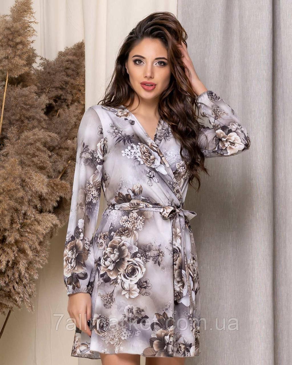 """Сукня жіноча на запах з квітковим принтом розміри 42-48 """"BONJOUR"""" купити недорого від прямого постачальника"""
