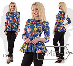 Брючний Костюм трикотажний з яскравою блузою з баскою, різні кольори р. 42,44,46,48,50,52,54 Код 449/450Д, фото 2