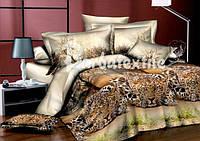 Двоспальне постільна білизна Ранфорс 3D - з леопардами