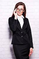 Классический женский черный пиджак на пуговицах