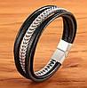 Мужской кожаный браслет со стальной цепью, р. 19, 21 и 23 см