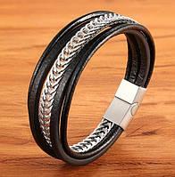Мужской кожаный браслет со стальной цепью, р. 19, 21 и 23 см, фото 1