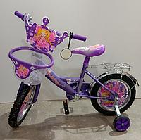 Детский двухколесный велосипед Mustang Принцесса 12 дюймов фиолетовый с корзинкой