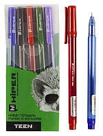 Набор ручек гелевых   HG-125/5 (красная, черная, синяя, зеленая, фиол)
