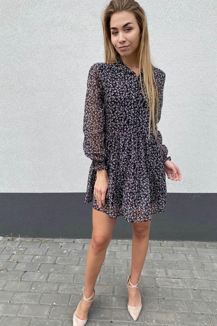 Стильное шифоновое платье – рубашка с юбкой в сборку  Clew - черный цвет, S (есть размеры)