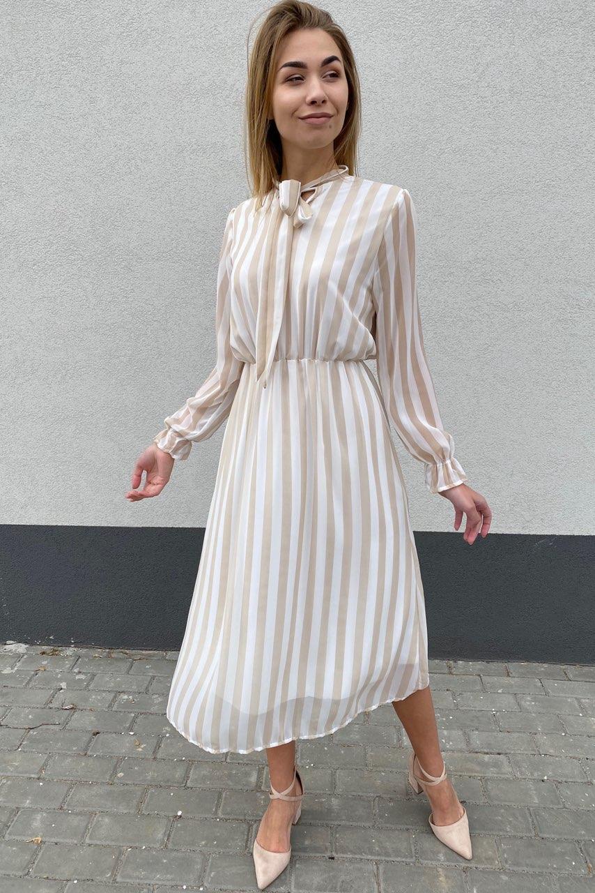 Элегантное платье миди в полоску Pintore - бежевый цвет, 44р (есть размеры)