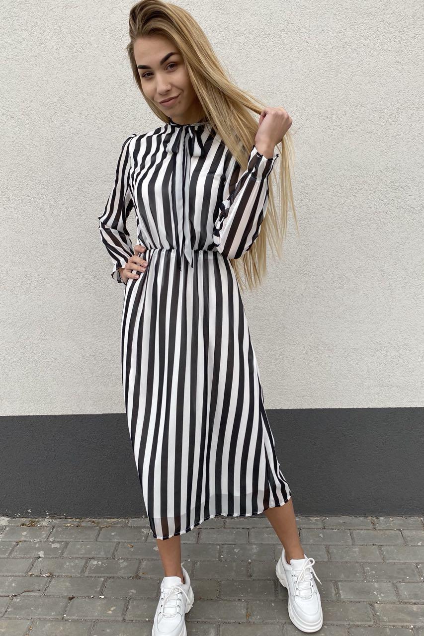 Элегантное платье миди в полоску Pintore - черный цвет, 46р (есть размеры)