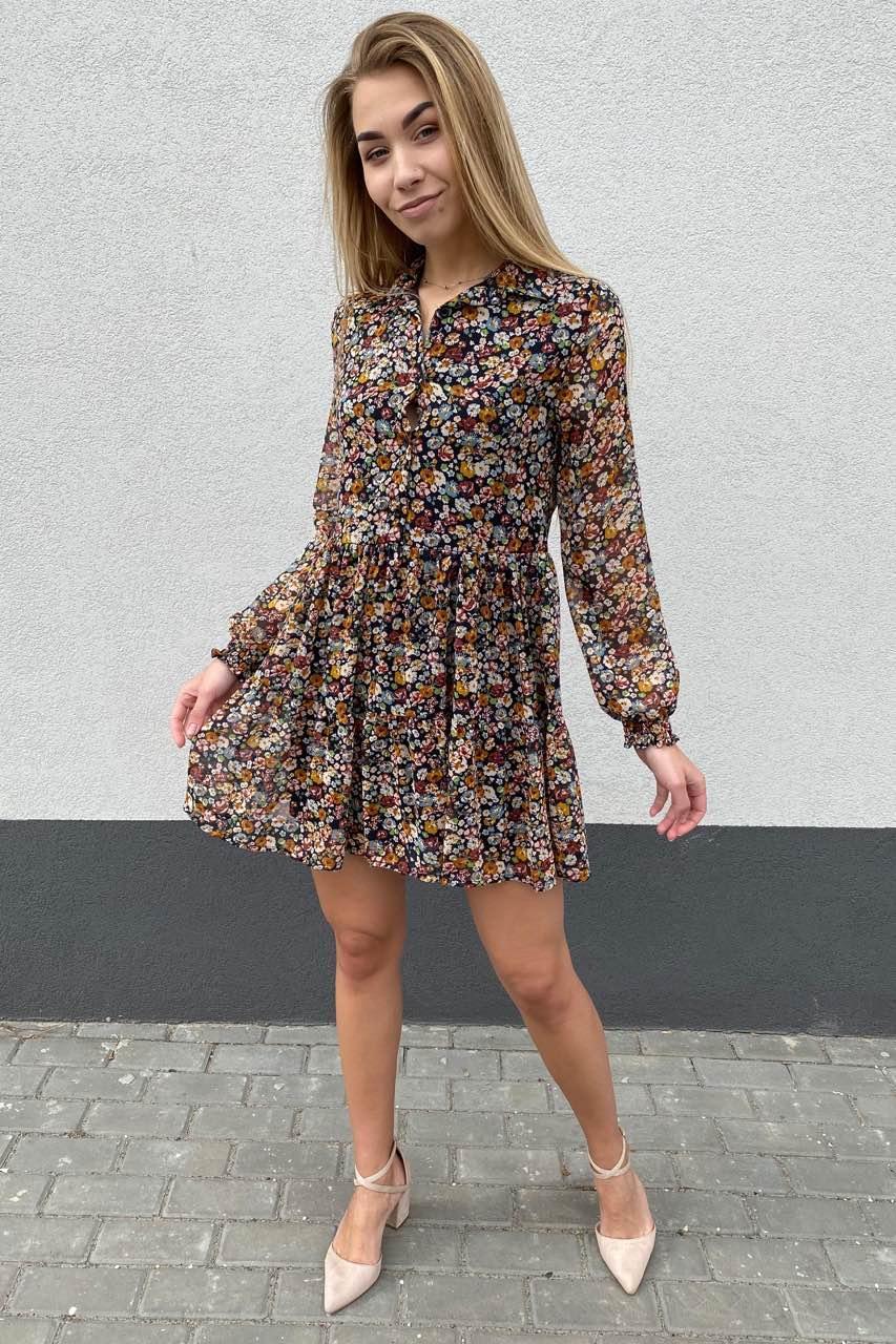 Стильное платье из шифона в принт цветы Cazibe - горчичный цвет, S (есть размеры)