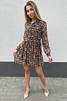 Стильное платье из шифона в принт цветы Cazibe - горчичный цвет, S (есть размеры), фото 1