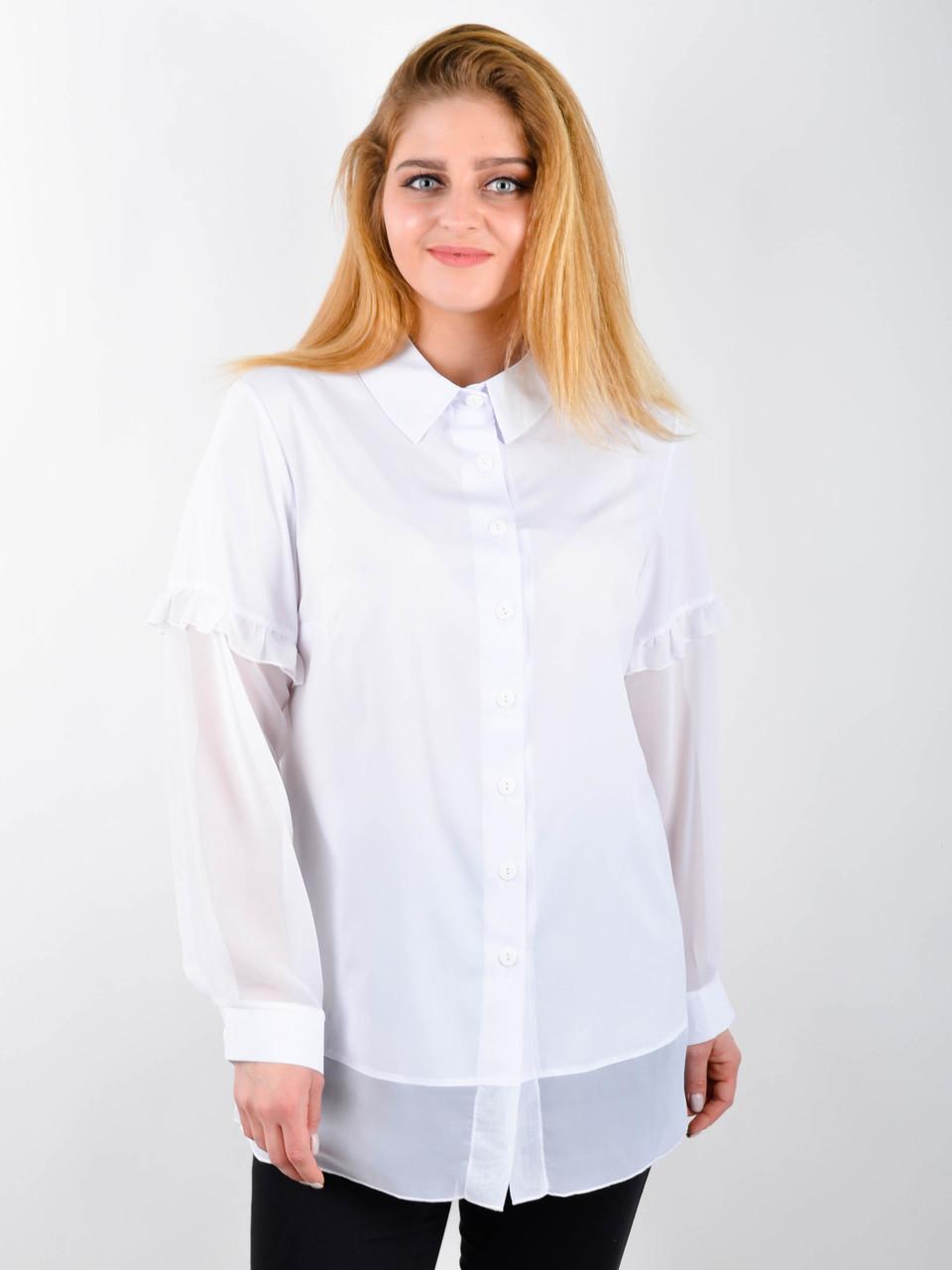 Блузка нарядная большого размера Нури белый