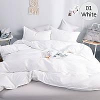 Белый однотонный комплект постельного белья, поплин Lux, разные размеры, фото 1