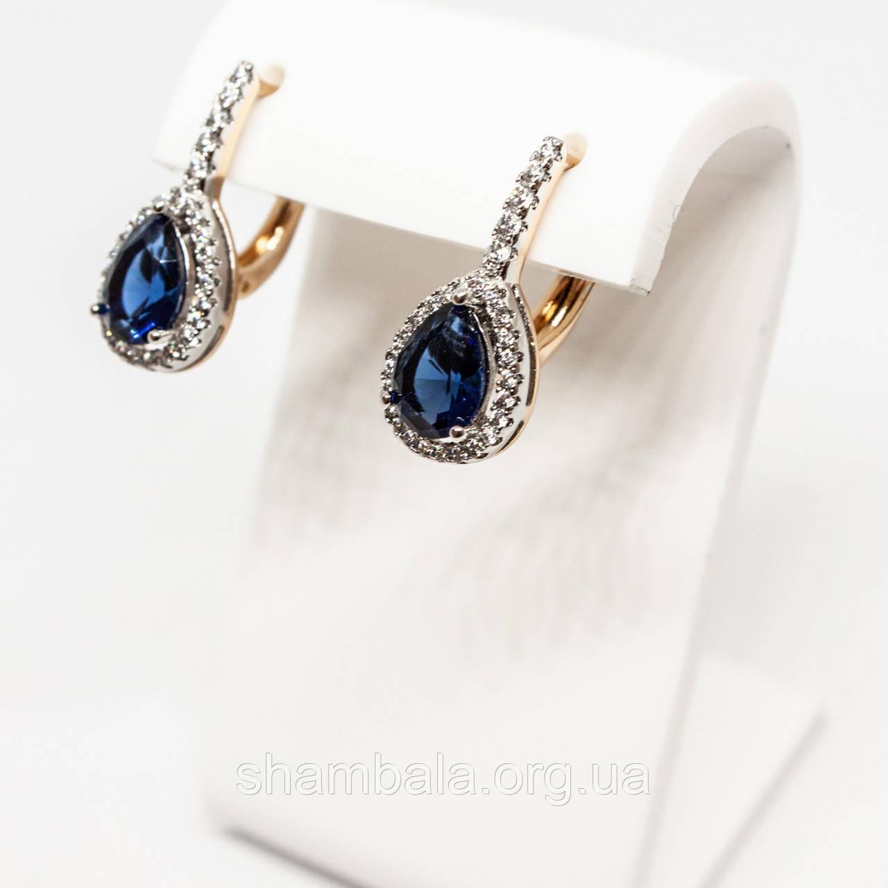 """Серьги Xuping Jewelry """"Сапфиры"""" позолота (75044)"""