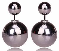 Серьги шары Dior серый металлик