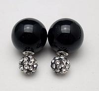 Серьги шары Dior цвет черный со стразами