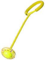 Светящаяся скакалка крутилка с колесиком на одну ногу - Нейроскакалка желтая, с доставкой (TI)