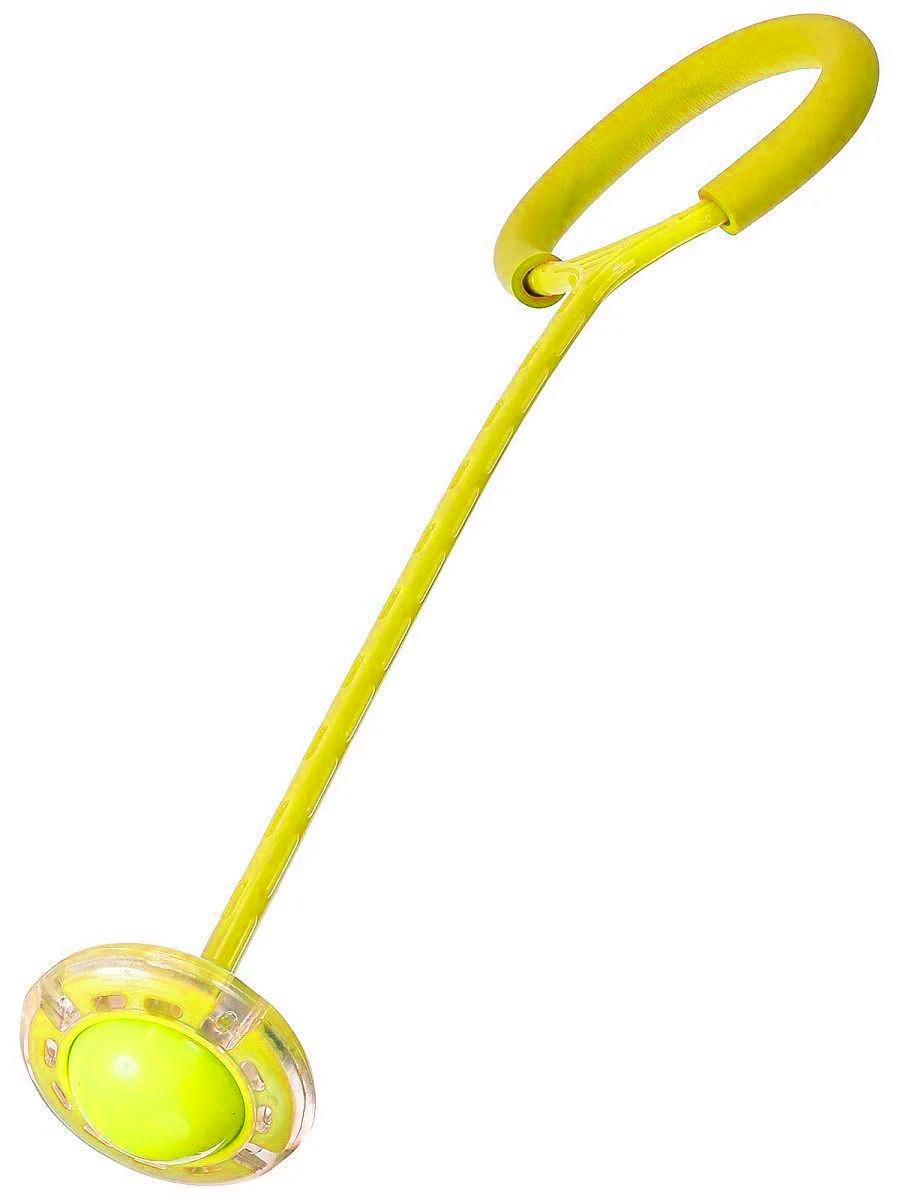 Светящаяся скакалка крутилка с колесиком на одну ногу - Нейроскакалка желтая, с доставкой (ST)