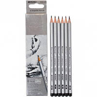Набор карандашей чернографитных Marco Raffine 2H-3B 6шт. 7000 / 6CB 7000/6CB