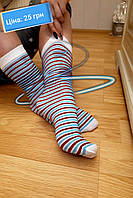 Высокие женские носки в полоску. Високі жіночі шкарпетки в полоску.