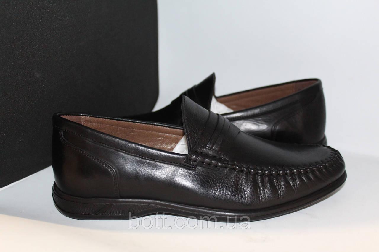 Туфли мужские мокасины кожаные черные