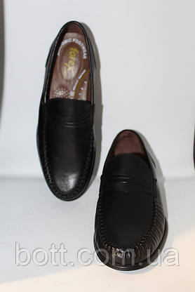 Туфли мужские мокасины кожаные черные, фото 3
