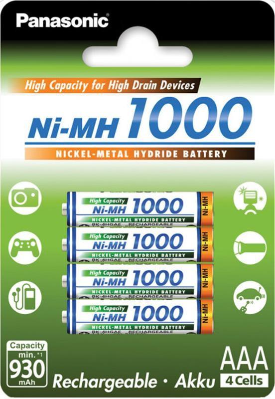 Аккумуляторы Panasonic AAA/HR03 NiMh 1000 mAh BL 4 шт