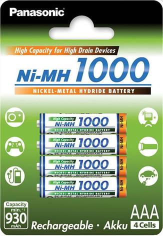 Аккумуляторы Panasonic AAA/HR03 NiMh 1000 mAh BL 4 шт, фото 2