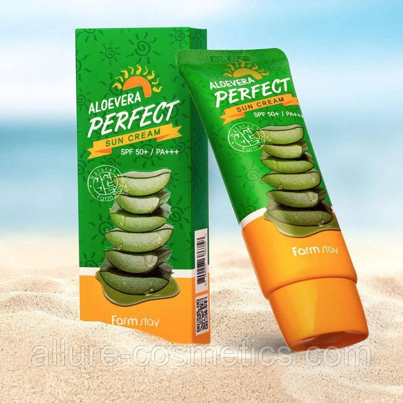 Солнцезащитный крем с Алоэ FARM STAY Aloevera Perfect Sun Cream SPF50+ PA+++ 70g