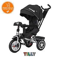 Трехколесный велосипед с родительской ручкой Tilly Cayman T-381/4 Len с пультом Темно-серый