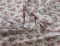 Батист белый итальянский хлопковый натуральный с цветочным принтом Y 11