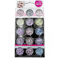 Конфетти - шестигранники со стружкой для декора ногтей Beauty Sky 15 цветов
