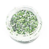 Блискітки - шестигранники зі стружкою для декору нігтів — Зелені