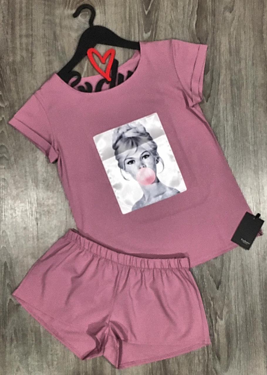 Комплект футболка и шорты с рисунком, стильные пижамы женские.