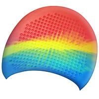 Шапочка для плавания на длиные волосы GP-009-multi-1 мультицвет (желто-сине-оранжевый)