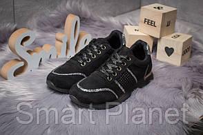 Кроссовки женские 14281, Ideal Black, черные, < 36 37 38 > р. 36-22,8см.