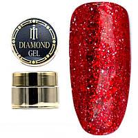 Diamond гель Milano 001, глиттерный гель моделирующий цветной гель с блестками, 8 гр