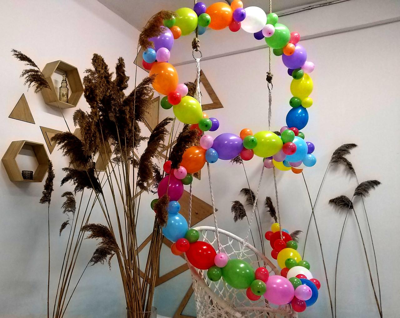 Гирлянда с воздушных шариков (радужная) /маленькие шарики/