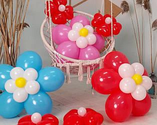 Цветы из воздушных шариков для украшения праздника (набор из семи цветков)