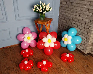 Цветы из воздушных шариков для украшения праздника (набор из семи цветков) Насос в комплекте