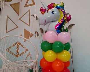 """Композиция с воздушных шариков """"Колона """"Единорог"""" (насос для воздушных шариков в комплекте)"""