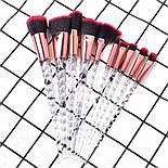 Набор кистей для макияжа с витой ручкой 10 шт черный, фото 2