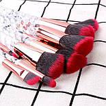 Набор кистей для макияжа с витой ручкой 10 шт черный, фото 3