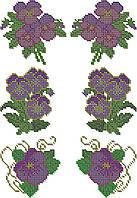 """Схема для вышивки бисером на водорастворимом флизелине """"Фиалки"""""""