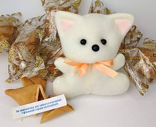 Подарок Котенок  «На Удачу!» — подарочный набор: игрушка-талисман и печенье с предсказаниям - Волшебный Котик
