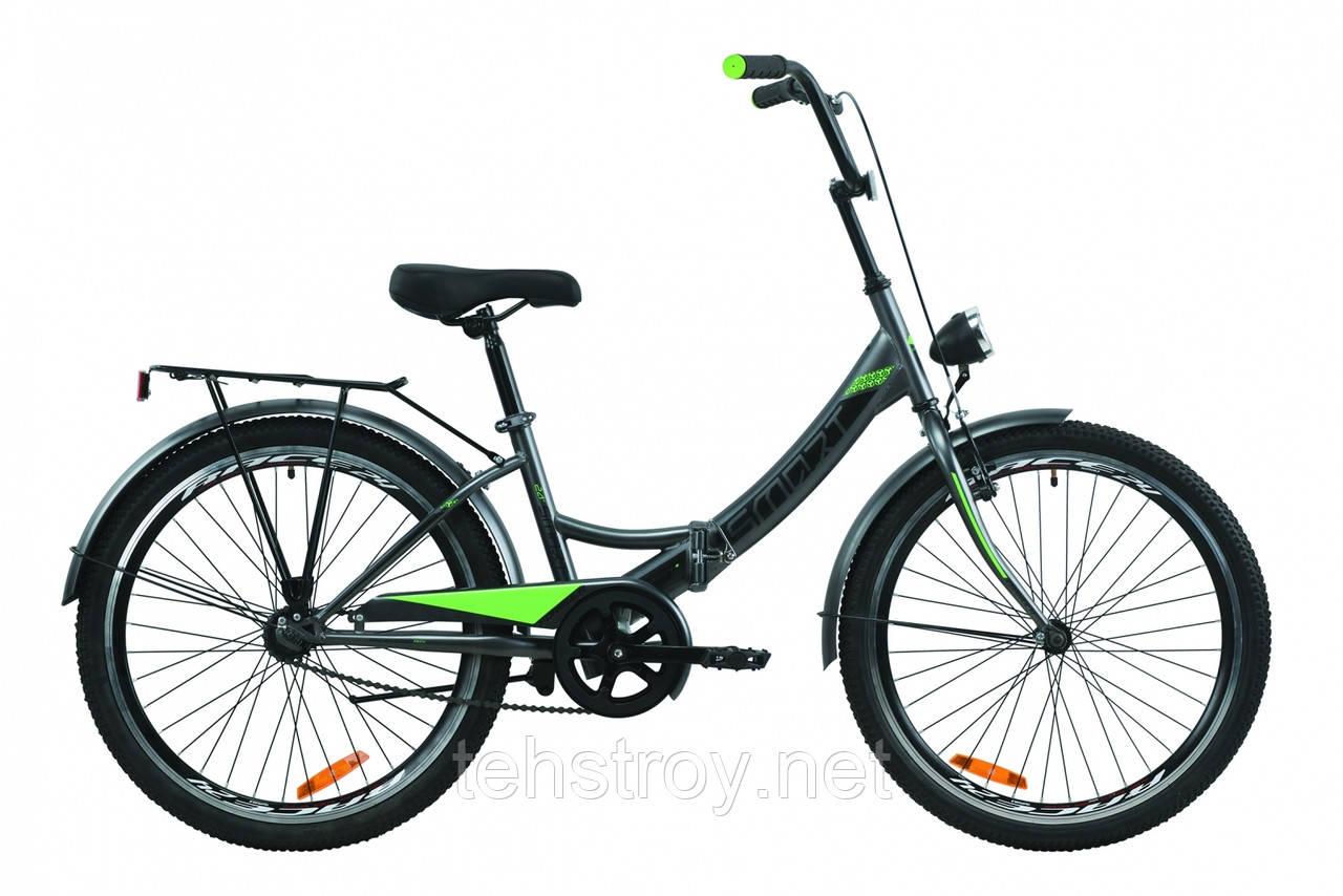 """Велосипед 24"""" Formula SMART с багажником зад St, с крылом St, с фонарём 2020 (серо-зелёный с черным (м))"""